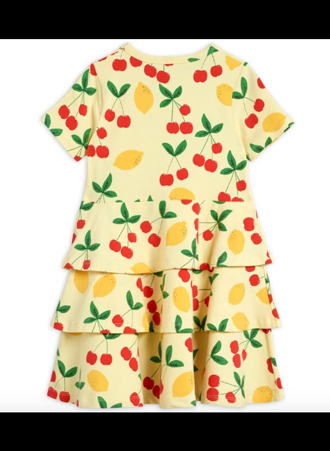 Mini Rodini - Cherry Lemonade Aop Ss Dress - Yellow