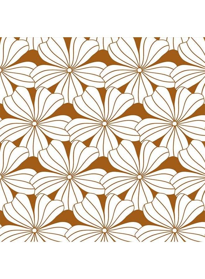 Flowers Cinnamon Brown - 90x200cm - Hoeslaken