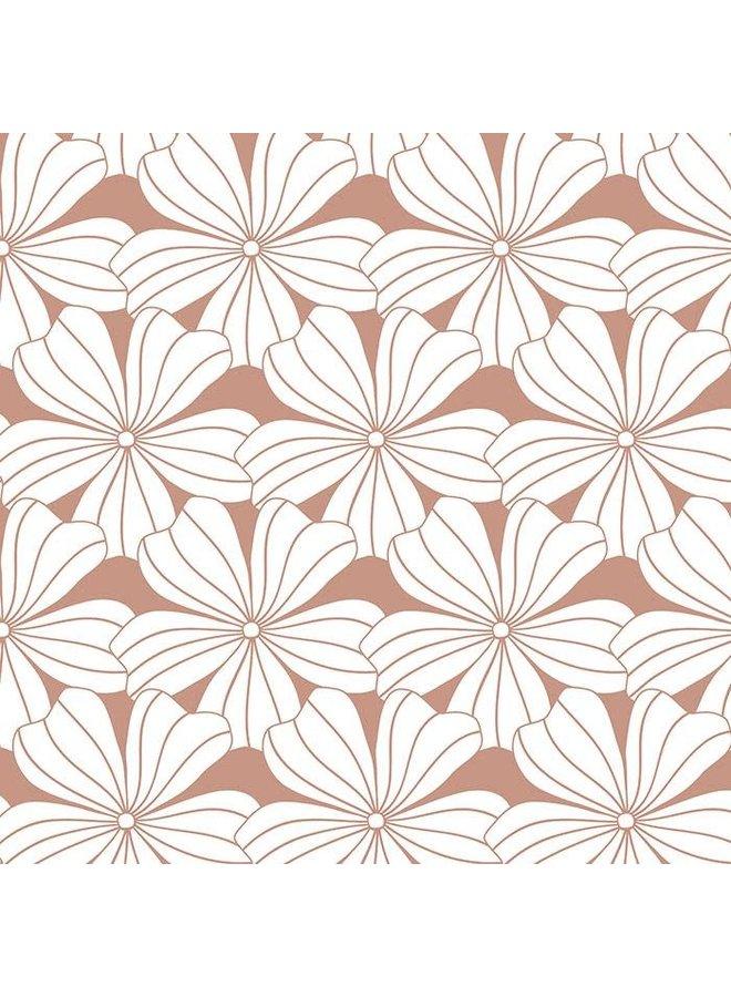 Flowers Terracotta Pink - 90x200cm - Hoeslaken