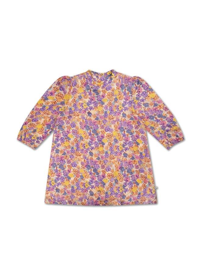 A Line Dress - Scribble Flower