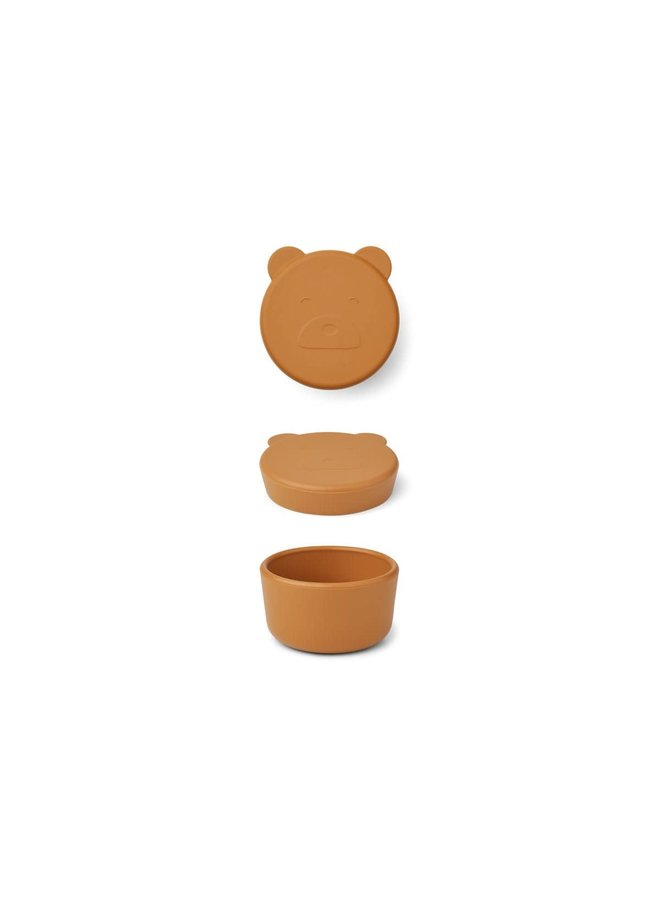 Carrie Snack Box Small - Mr bear Mustard