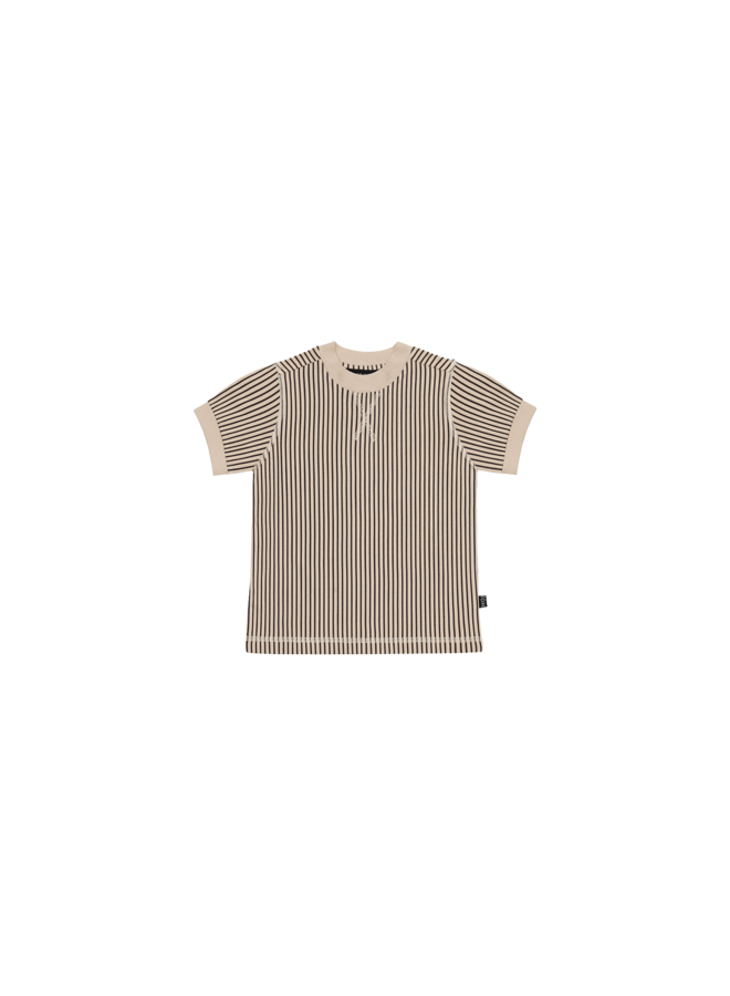 Crewneck Tee - Charcoal Sheer Stripes