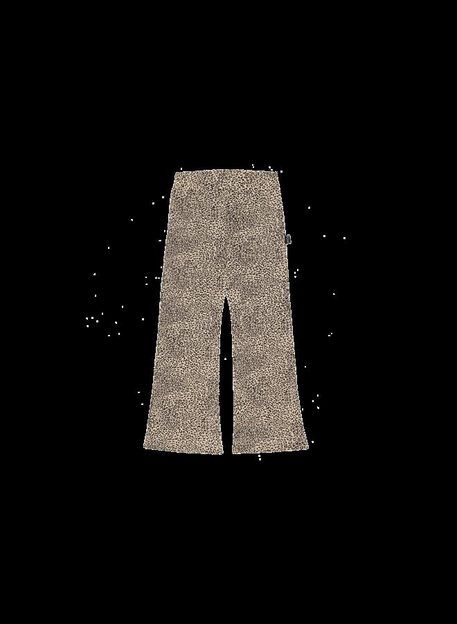 Flared Pants - Charcoal Little Leopard