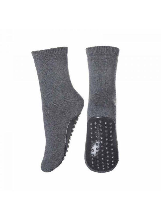 Cotton Socks With Anti-Slip - 497 - Dark Grey Melange