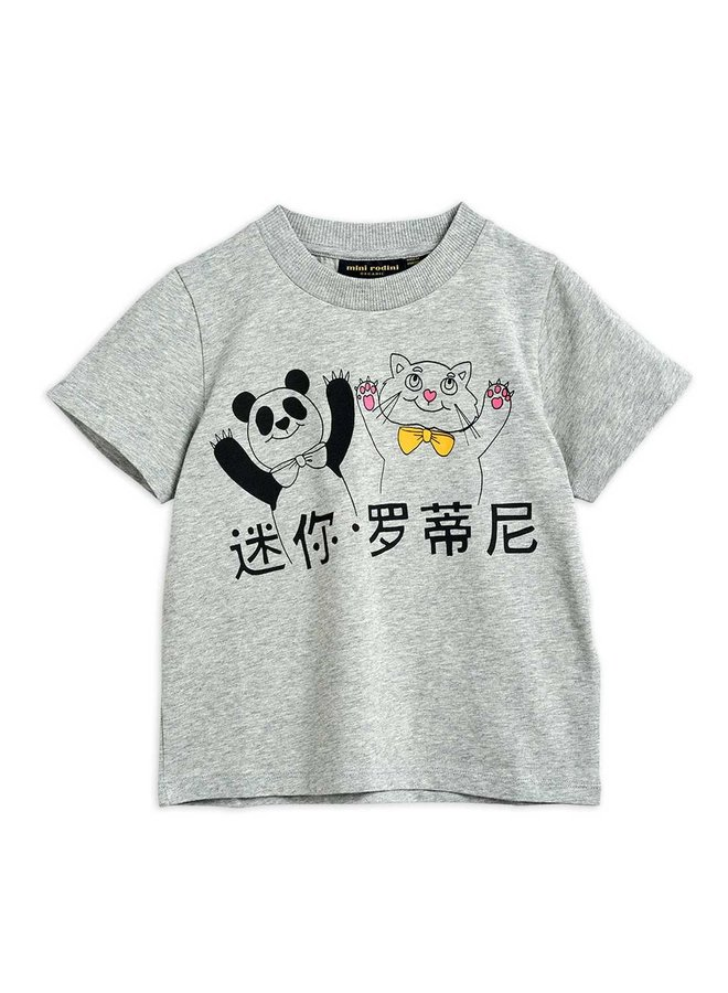 Cat And Panda Sp Ss Tee - Grey Melange