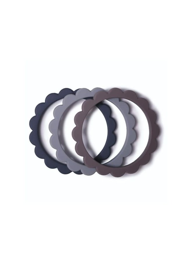 Flower Bracelet 3 pack - Steel/Gray/Stone