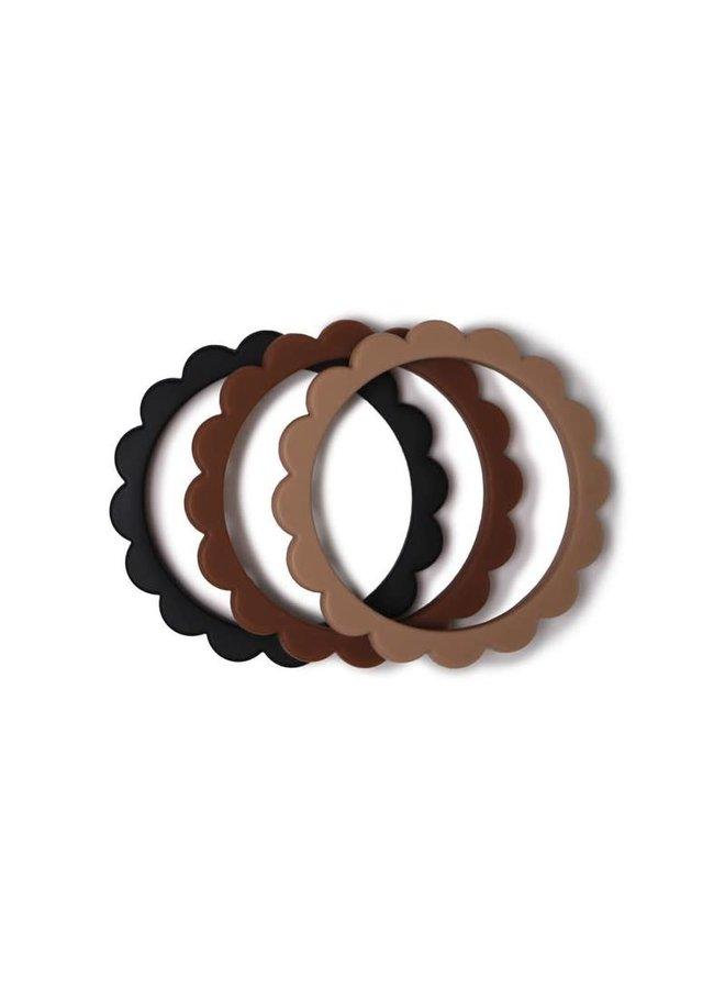 Flower Bracelet 3 pack - Black/Natural/Caramel