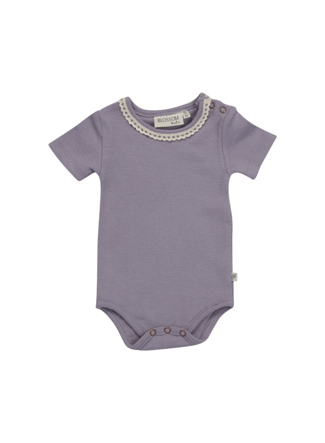 Body short sleeve with lace - soft rib - Lavender Grey