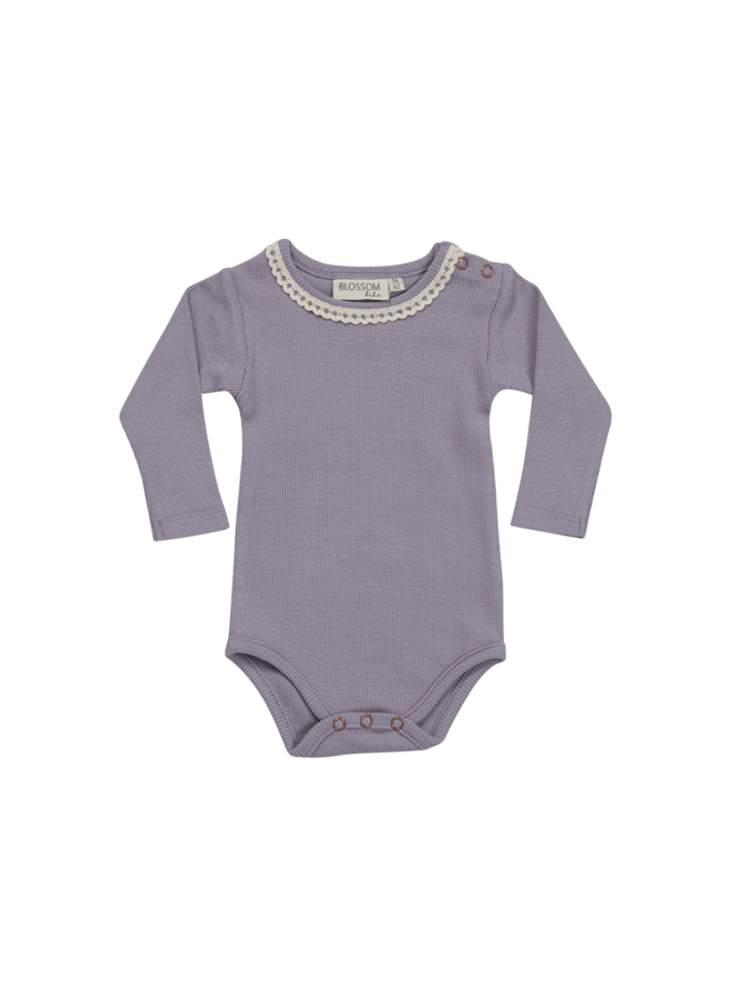 Blossom Kids- Body long sleeve with lace - Lavender Blue