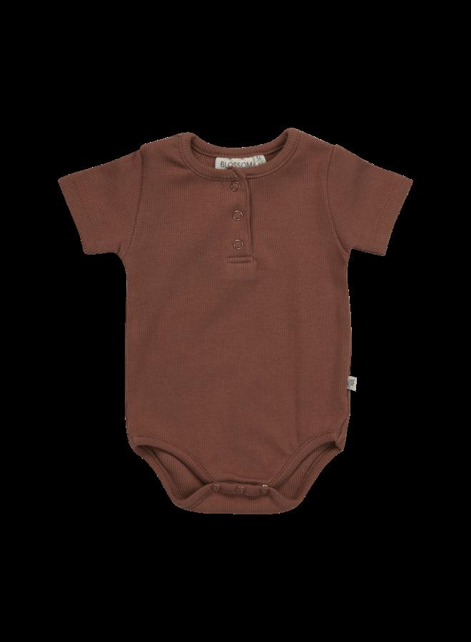 Blossom Kids- Body short sleeve with buttons - Hazelnut