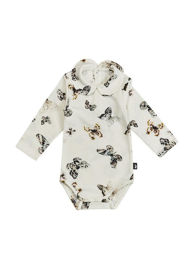 Collar Bodysuit Long Sleeves Fika Butterfly - Off White