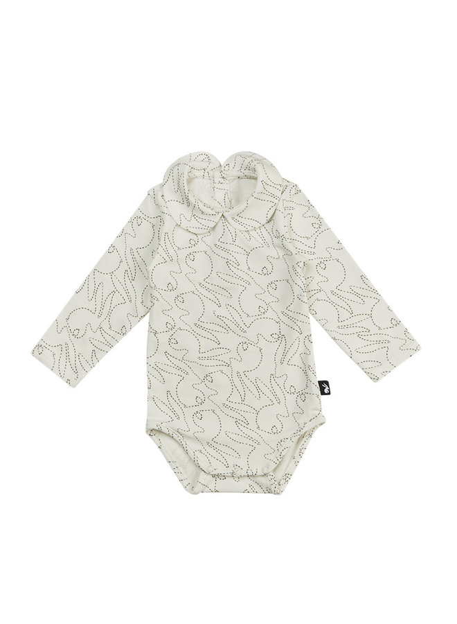 Collar Bodysuit Long Sleeves Stitched Bunny - Off White