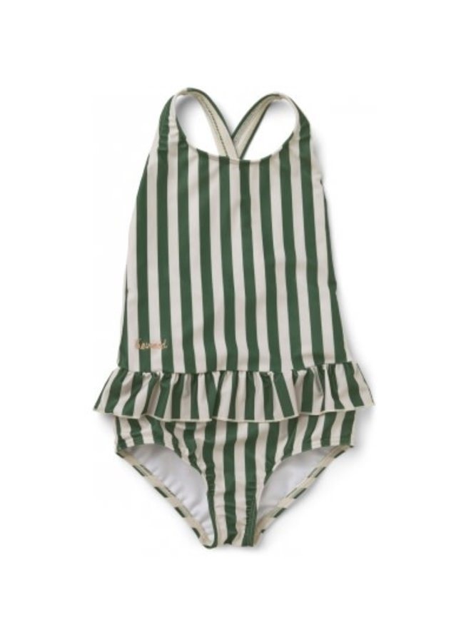 Amara Swimsuit - Stripe - Garden Green/Sandy