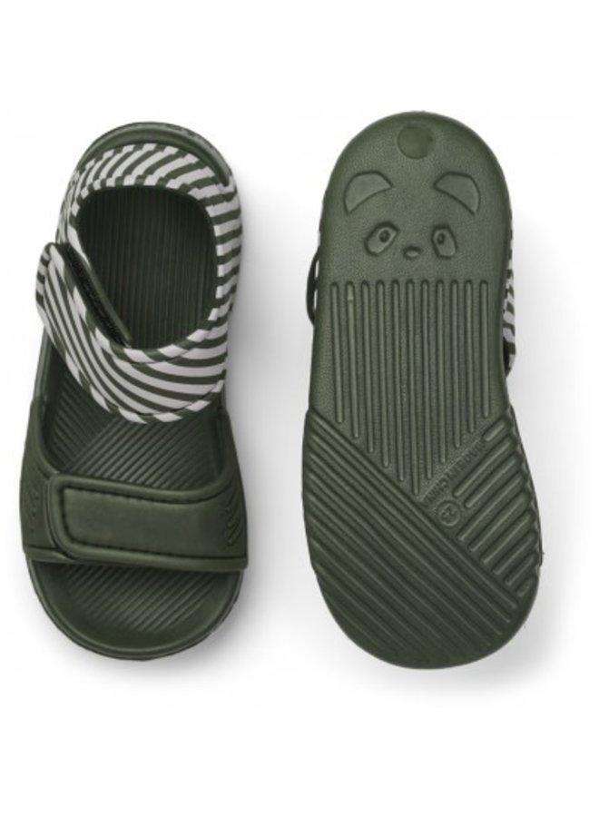 Blumer Sandals - Stripe - Hunter Green/Sandy