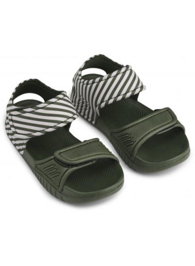 Liewood - Blumer Sandals - Stripe - Hunter Green/Sandy