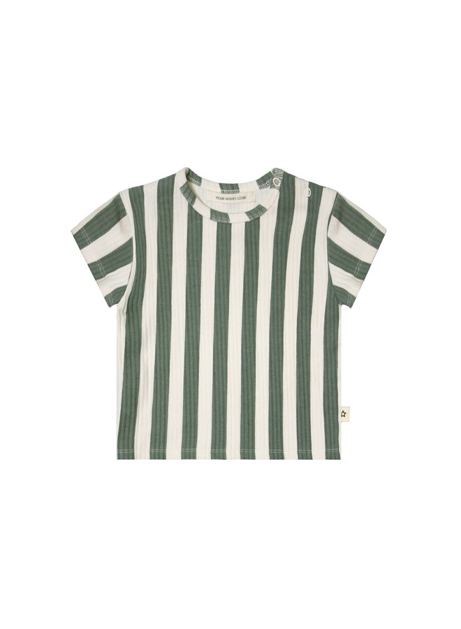 Bold Stripes Loose Tee  - 630 - Old Green