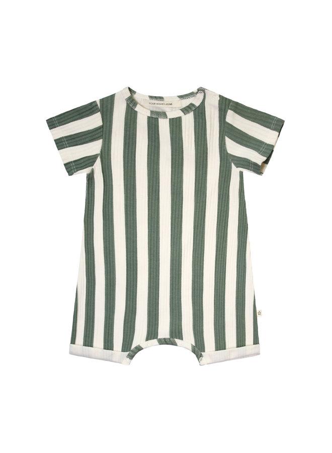 Bold Stripes SS Onesie - 630 - Old Green