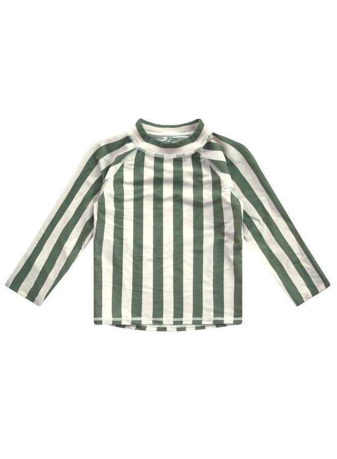 Bold Stripes Swim Tee Ls - 630 - Old Green