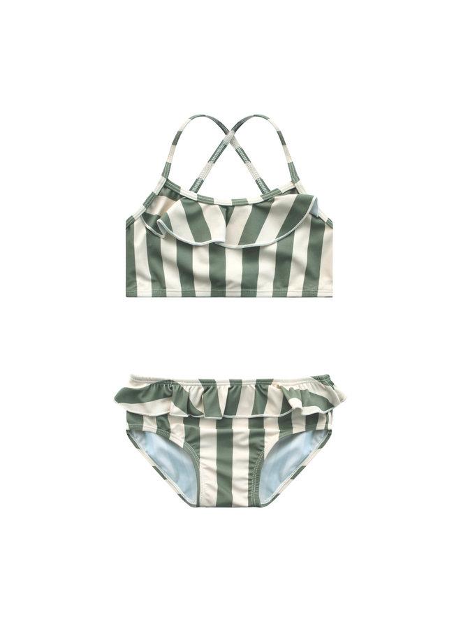 Bold Stripes Bikini Set - 630 - Old Green