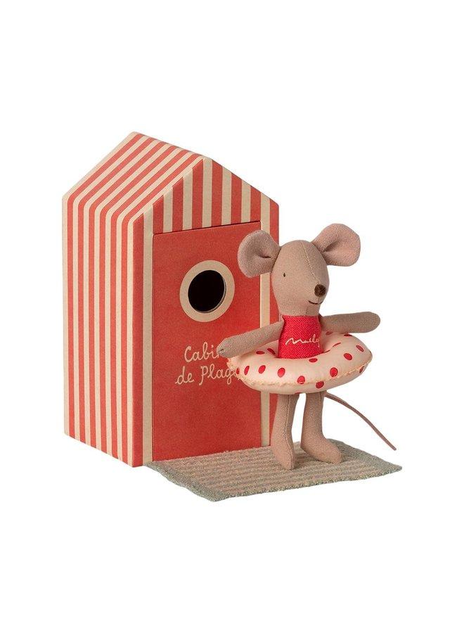Maileg - Beach Mice, Little Sister In Cabin De Plage