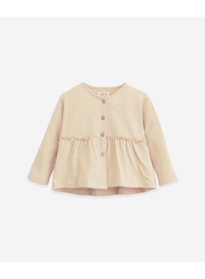 Cardigan in organic cotton with a frill - 10903