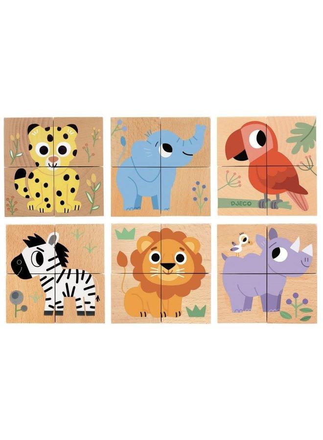 4 Wooden blocks puzzle - Wild & Co - DJ01904