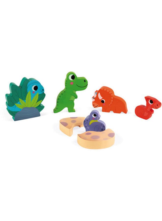 Janod - Chunky Puzzel - Dino verstoppertje