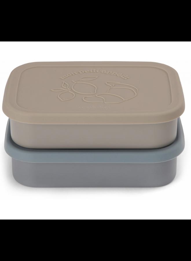 Konges Sløjd - 2 Pack Food Boxes Lid Square - Blue