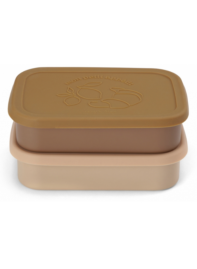 2 Pack Food Boxes Lid Square - Rose