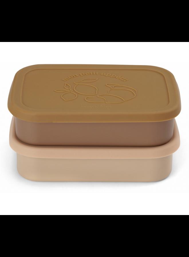 Konges Sløjd - 2 Pack Food Boxes Lid Square - Rose