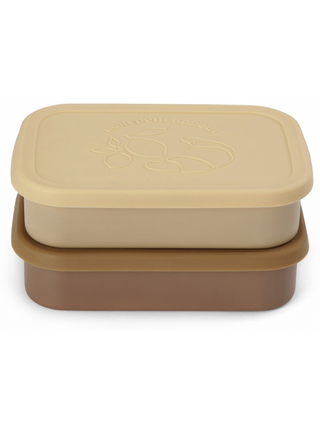 Konges Sløjd - 2 Pack Food Boxes Lid Square - Vanilla Yellow