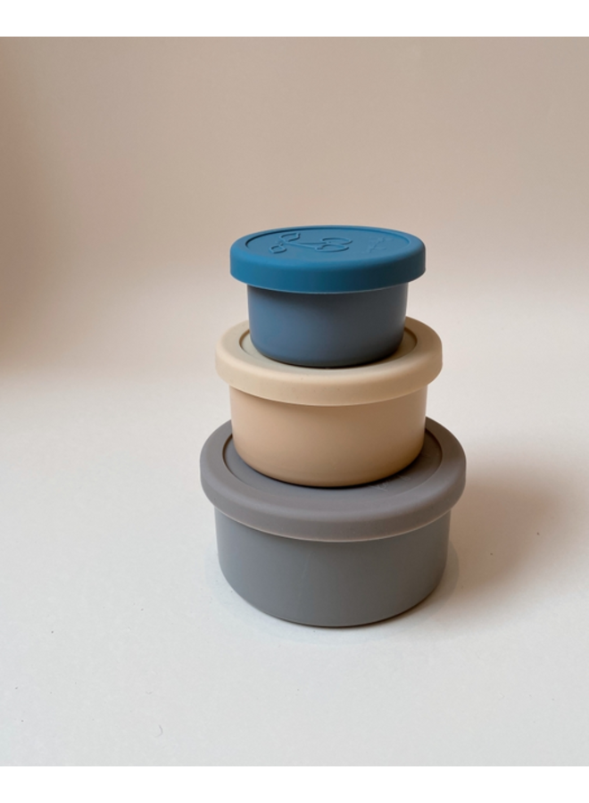 Konges Sløjd - 3 Pack Food Boxes Lid Round - Blue