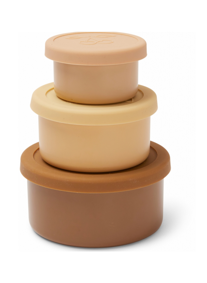 3 Pack Food Boxes Lid Round - Rose