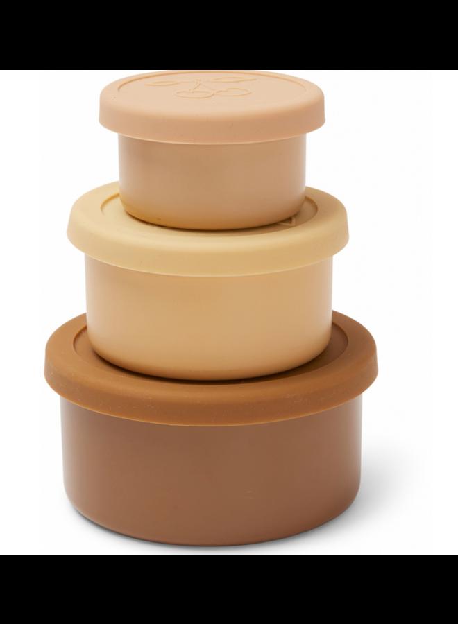 Konges Sløjd - 3 Pack Food Boxes Lid Round - Rose