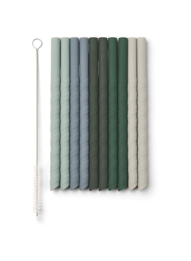 Timoti - straw 10-pack - Green multi mix