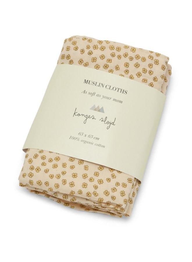 Konges Sløjd - 3-Pack Muslin Cloth - Buttercup Yellow