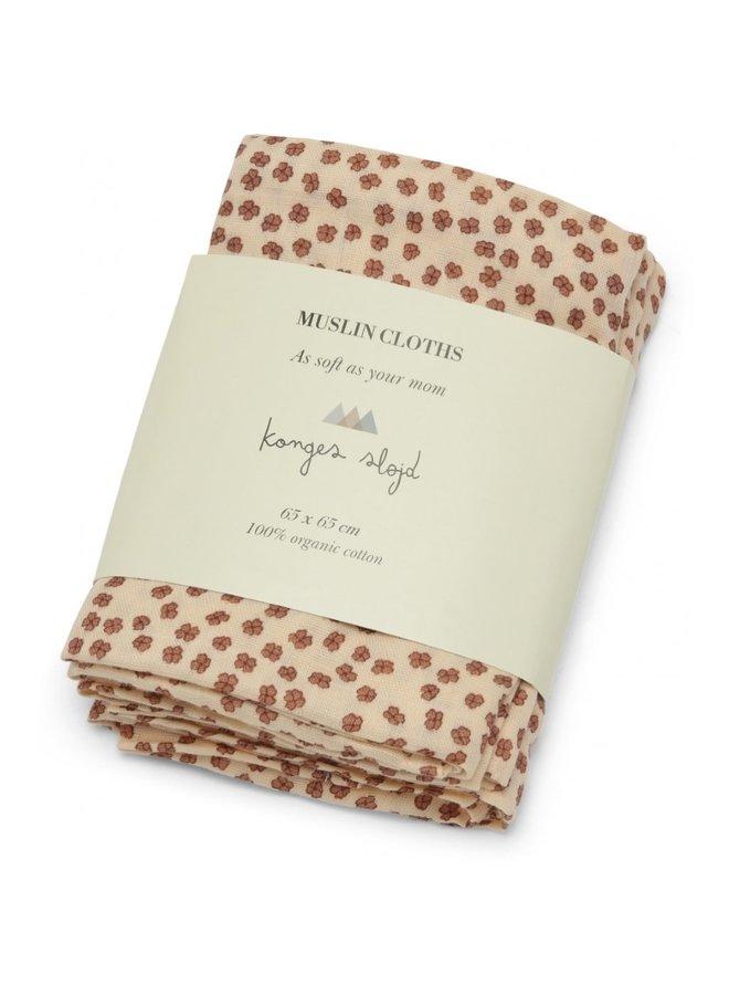 Konges Sløjd - 3-Pack Muslin Cloth - Buttercup Rosa