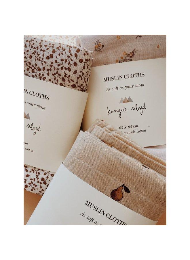 Konges Sløjd - 3-Pack Muslin Cloth - Petit Amour Rose