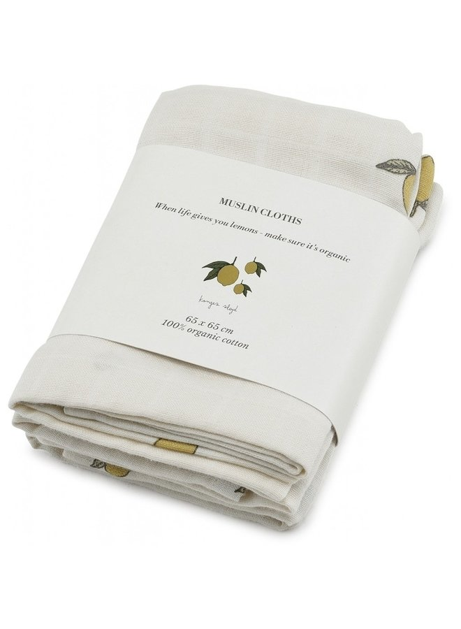 3-pack Muslin Cloth - Lemon