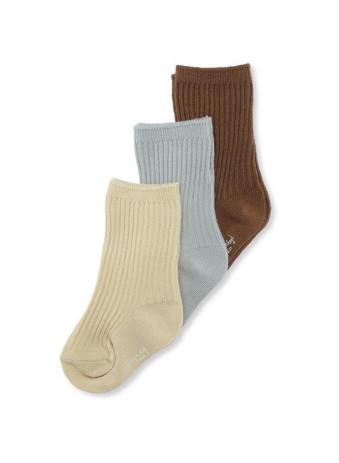 Konges Sløjd 3-pack Rib Socks - Breen/Mint/Sahar Sun