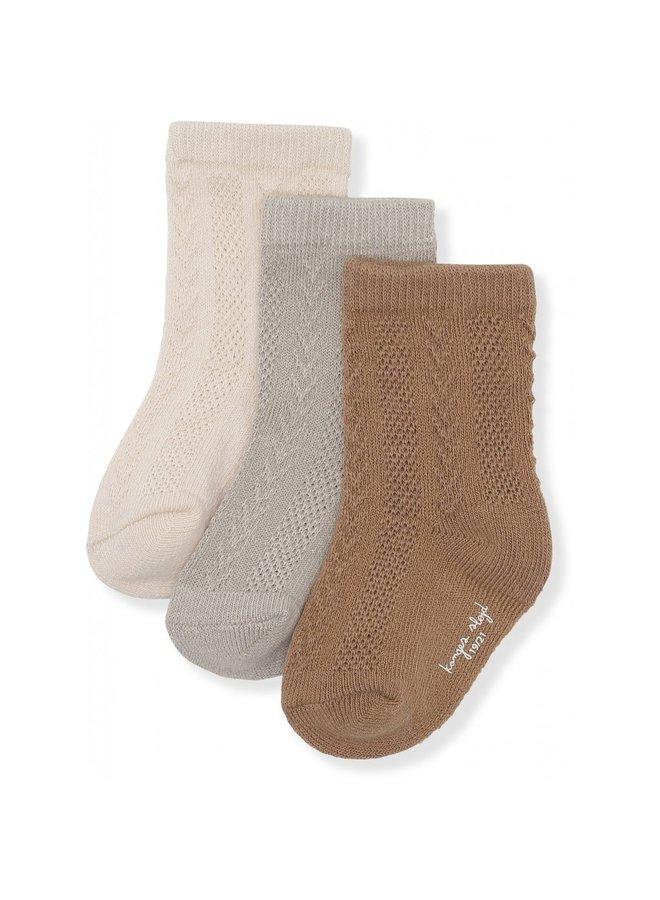 3-pack Pointelle Socks - Almond/Paloma Grey/Creme