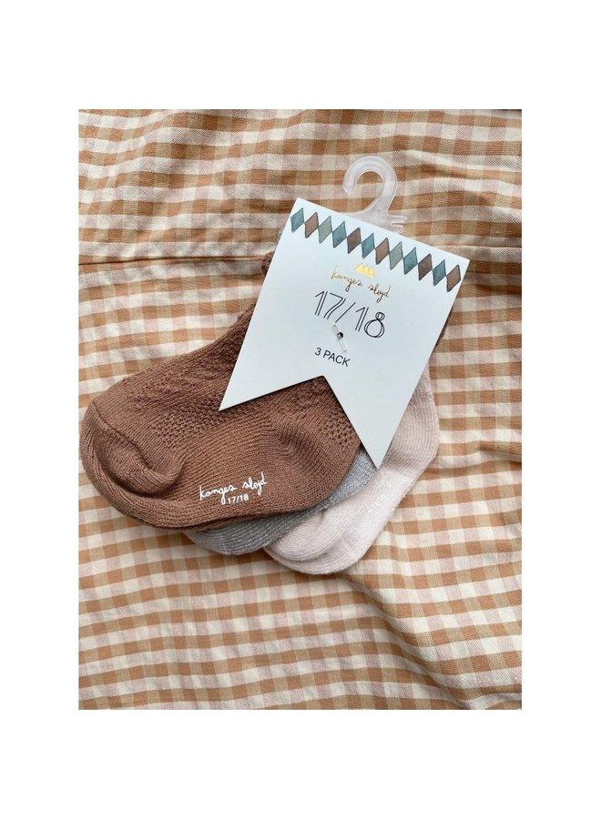 Konges Sløjd - 3-pack Pointelle Socks - Almond/Paloma Grey/Creme