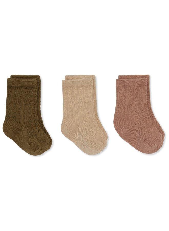 3-pack Pointelle Socks - Brush/Moonlight/Breen