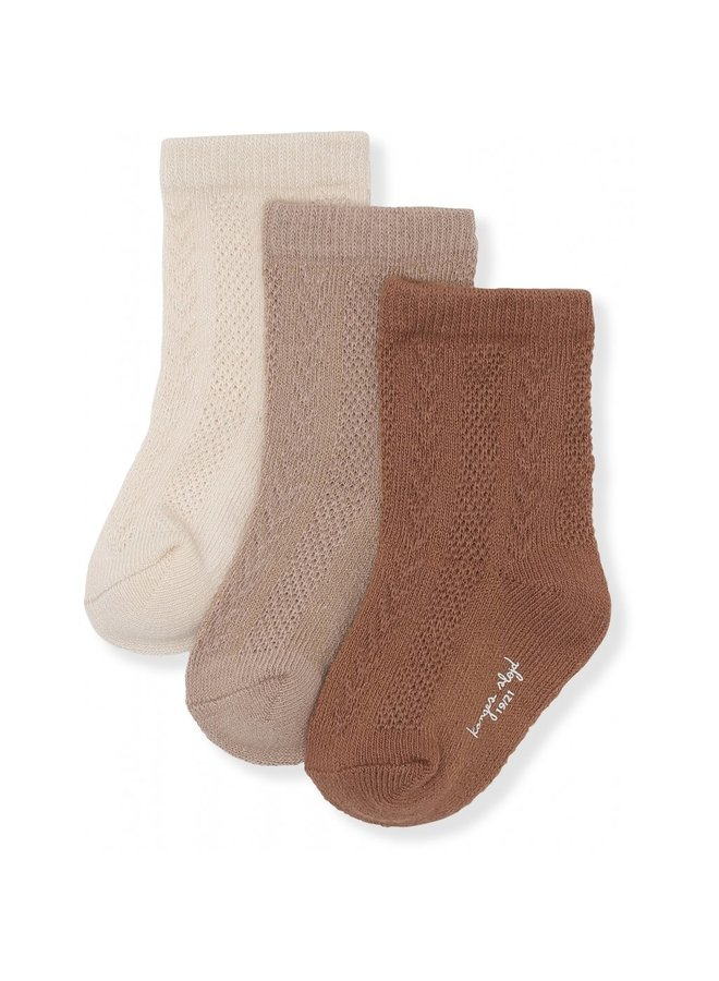 3-pack Pointelle Socks - Mocca/Hazel/Creme