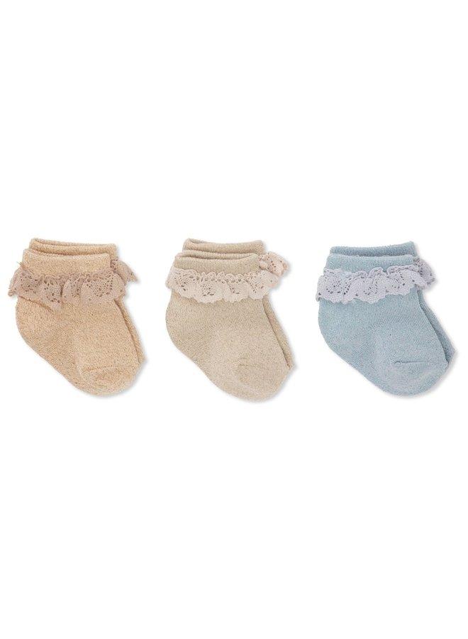 Konges Sløjd 3-pack Lace Lurex Socks - Ocean Eyes