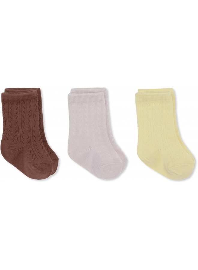 3-pack Pointelle Socks - Lemon Sorbet/Lavendar Mist/Fig Brown