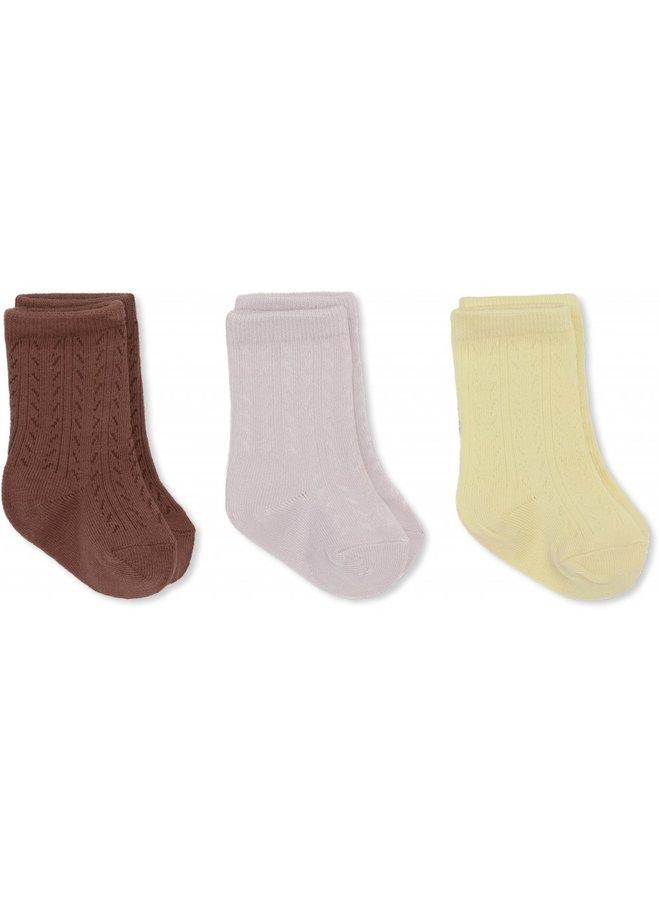 Konges Sløjd - 3-pack Pointelle Socks - Lemon Sorbet/Lavendar Mist/Fig Brown