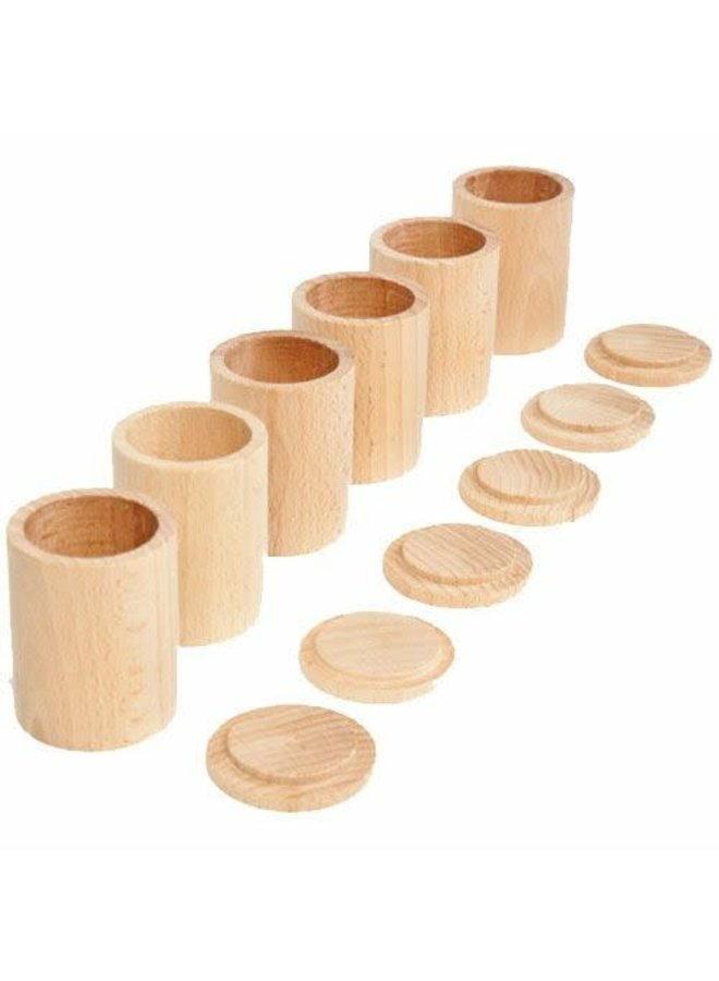 Grapat - 16-136 - 6 natural cups with cover/wooden toys