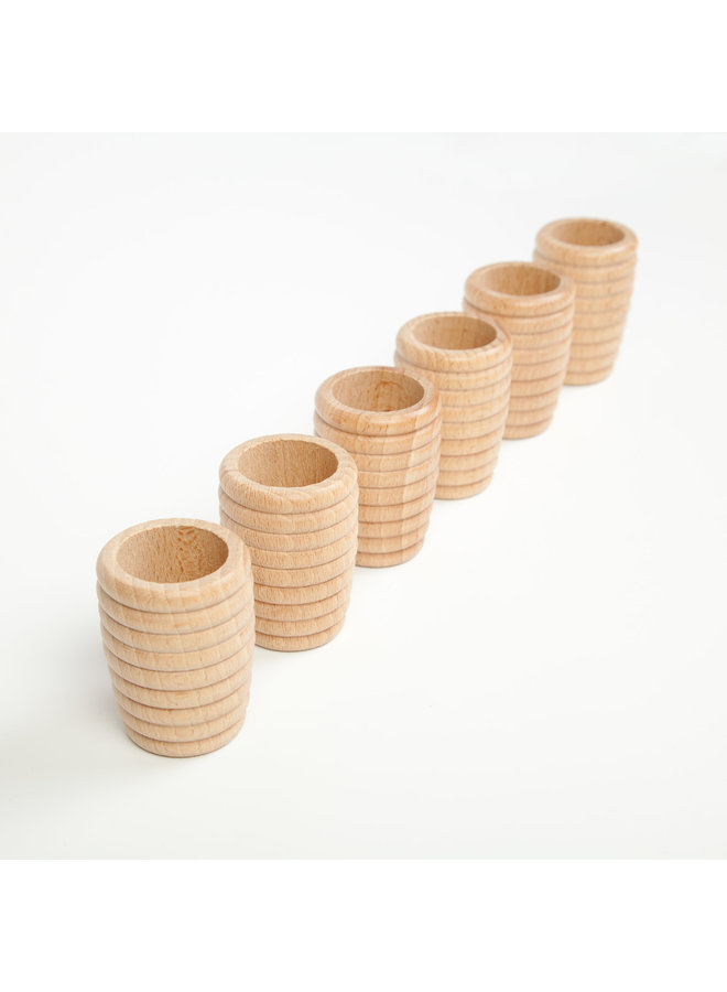 16-154 6x honeycomb beakers natural wood/wooden toys