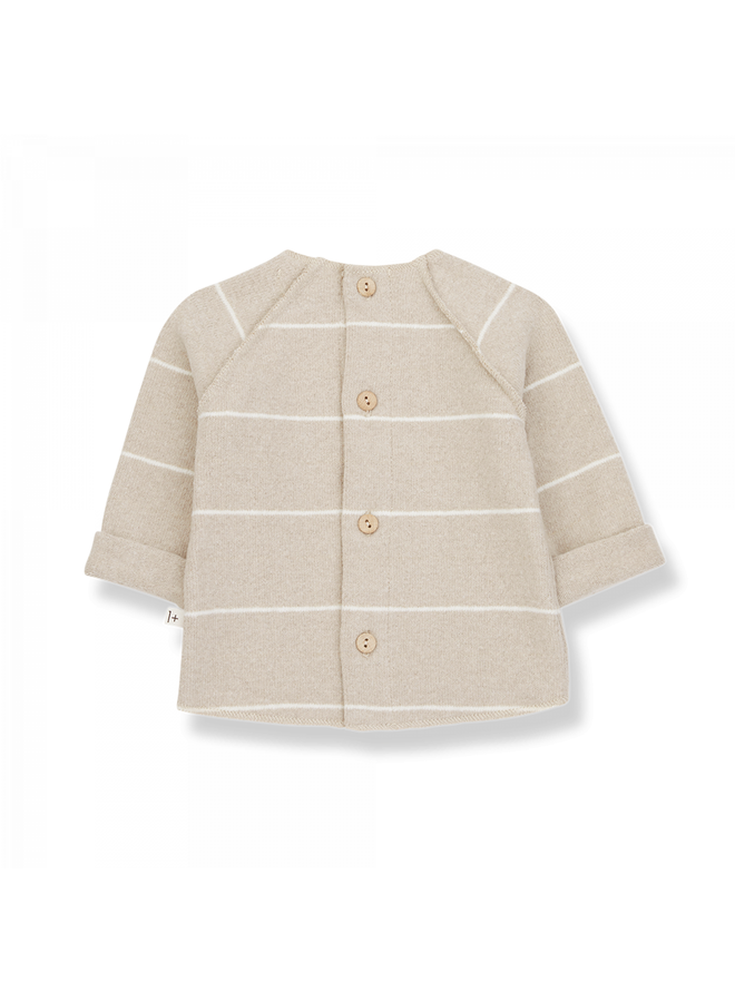 1+ in the family - Recycled Striped Fleece Gaspard - Cream